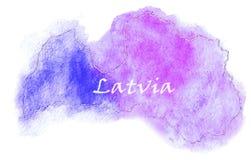 Illustrazione della mappa di vettore della Lettonia Fotografia Stock Libera da Diritti