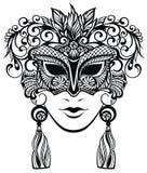 Illustrazione della maschera di carnevale dei con le piume Immagini Stock