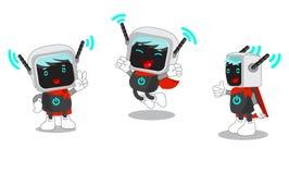 Illustrazione della mascotte del fumetto di un computer e di Internet senza fili Vettore fissato su fondo bianco Fotografia Stock Libera da Diritti