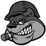 Illustrazione della mascotte dell'esercito del bulldog Illustrazione di Stock