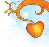 Illustrazione della mela arancione sulla filiale Royalty Illustrazione gratis