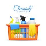 Illustrazione della merce nel carrello dei prodotti di pulizia della famiglia royalty illustrazione gratis