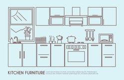 Illustrazione della mobilia della cucina Fotografia Stock