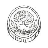 Illustrazione della moneta di scarabocchio di vettore Fotografie Stock