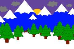Illustrazione della montagna di inverno Immagine Stock