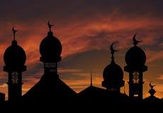 Illustrazione della moschea contro lo sfondo di un declino Immagini Stock Libere da Diritti