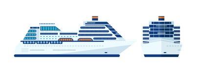 Illustrazione della nave da crociera isolata, vista laterale su fondo bianco Fotografie Stock Libere da Diritti
