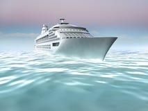 Illustrazione della nave da crociera in mare Fotografia Stock Libera da Diritti