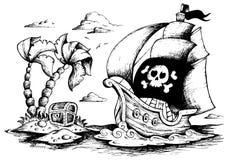 Illustrazione della nave di pirata 1 Fotografia Stock