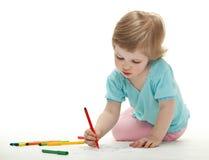 Illustrazione della neonata con le penne felt-tip variopinte Immagini Stock