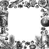 Illustrazione della pagina di festa disegnata a mano del buon anno e di Buon Natale Fotografia Stock