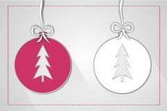 Illustrazione della palla di Natale fatta di carta per accogliere Immagine Stock
