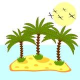 Illustrazione della palma in isola su fondo Fotografia Stock