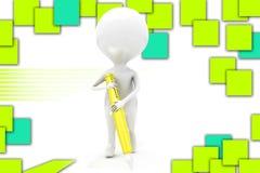 illustrazione della penna dell'uomo 3D Fotografia Stock Libera da Diritti