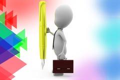illustrazione della penna dell'uomo di affari 3d Fotografia Stock Libera da Diritti