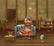 Illustrazione della persona anziana che si siede su un sofà nella casa royalty illustrazione gratis