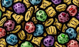 Illustrazione della prima colazione dolce fruttata della bacca del cereale caloria variopinta di granula di alta per i bambini Immagine Stock