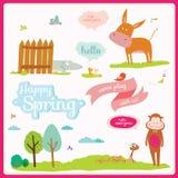 Illustrazione della primavera o di estate con gli animali divertenti Fotografia Stock Libera da Diritti