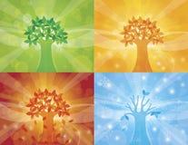 Illustrazione della priorità bassa dell'albero di quattro stagioni illustrazione di stock