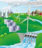 Illustrazione della produzione di energia di elettricità Fotografia Stock Libera da Diritti