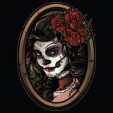 Illustrazione della ragazza del cranio dello zucchero illustrazione di stock