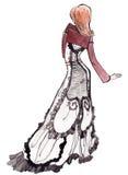 Illustrazione della ragazza dell'annata Fotografia Stock Libera da Diritti