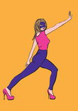 Illustrazione della ragazza dell'eroe Immagini Stock Libere da Diritti
