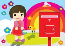 Illustrazione della ragazza della posta illustrazione vettoriale