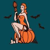 Illustrazione della ragazza di Halloween Fotografie Stock Libere da Diritti