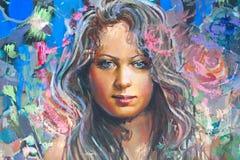 Illustrazione della ragazza, frammento, pittura Fotografia Stock Libera da Diritti