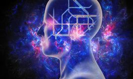 illustrazione della rappresentazione 3d di un'interfaccia di intelligenza artificiale in un fondo della nebulosa illustrazione vettoriale