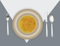 Illustrazione della regolazione di posto con la minestra Fotografia Stock Libera da Diritti