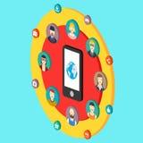 Illustrazione della rete sociale con la terra degli avatar Immagine Stock