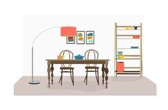 Illustrazione della sala da pranzo di vettore Mobilia della cucina Immagine Stock Libera da Diritti