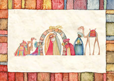 Illustrazione della scena di Christian Christmas Nativity con i tre saggi Immagine Stock Libera da Diritti