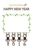 Illustrazione della scimmia della carta del nuovo anno Fotografia Stock Libera da Diritti