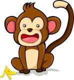 illustrazione della scimmia di sorriso di vettore Immagini Stock Libere da Diritti
