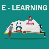 Illustrazione della scuola di e-learning dei giovani che per mezzo del computer portatile, della compressa e dello smartphone per Fotografia Stock Libera da Diritti