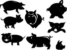 Illustrazione della siluetta del maiale Fotografia Stock