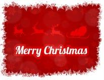 Illustrazione della siluetta di Santa Claus con la slitta e tre renne Fotografie Stock Libere da Diritti