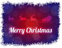 Illustrazione della siluetta di Santa Claus con la slitta e tre renne Fotografia Stock Libera da Diritti