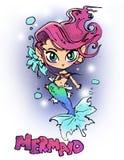 Illustrazione della sirena del fumetto di bellezza per la maglietta Fotografia Stock Libera da Diritti