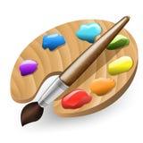 Illustrazione della spazzola e del pallet di colore Immagini Stock