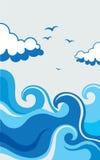 Illustrazione della spiaggia delle onde Immagine Stock Libera da Diritti