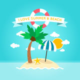 Illustrazione della spiaggia di estate Immagini Stock Libere da Diritti