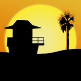 Illustrazione della spiaggia di tramonto immagine stock libera da diritti