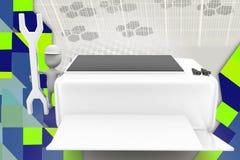 illustrazione della stampante di riparazione dell'uomo 3d Fotografia Stock Libera da Diritti
