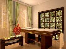 Illustrazione della stanza piacevole di massaggio nel salone della stazione termale Fotografie Stock Libere da Diritti