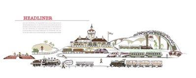 Illustrazione della stazione ferroviaria, raccolta della città Immagini Stock