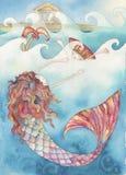Illustrazione della storia la piccola sirena Fotografia Stock